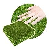 Yosoo Kunstrasen Teppich Kunststoff Grass Innen Außen Grün Kunstrasen Micro Ornament Landschaft Dekoration Haus Garten (4 Stück, 15 x 15 cm)