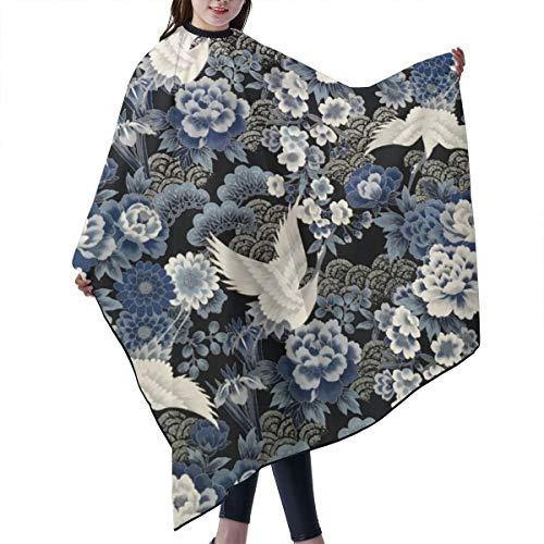 GAHAHA Friseurumhang mit blauen Blumen, Kranichen, Kraniche, Kunden, Friseursalon, Stoff, Färben, Haarschutz, dauerhafte Wickelschürze, 140 x 168 cm