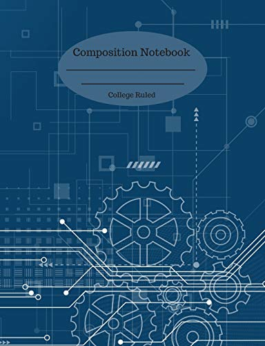 Composition Notebook: College Ruled Journal 110 Pages Digital Blue Technological Cover Design