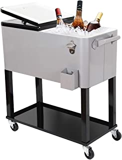 UPHA 80 Quart Rolling Outdoor Patio Cooler Cart on Wheels, Portable Drink Beverage Bar for Patio Pool Party, Ice Chest with Shelf and Bottle Opener, Silvery