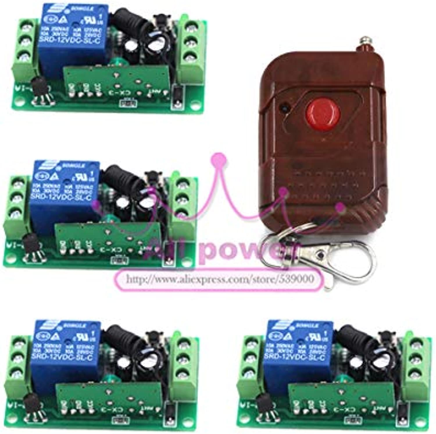Hot Sale Wireless Switch 12V Three Ways Remote Control Relay Switch RF ON Off 4 Switchs + 1 Remote Controllers