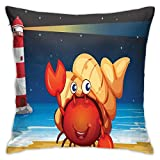 DHNKW Throw Pillow Case Cushion Cover,Illustration of Marine Creature Under A Shell At The Beach At Night with A Lighthouse ,18x18 Inches