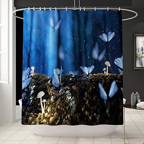 ETH nachtscène vlinderpatroon leuk waterdicht douchegordijn badrekening badkamer waterdicht gordijn vervaagt niet kleur veelzijdig comfortabel bad douche gordijn 180cm*180cm Machine wasbaar d