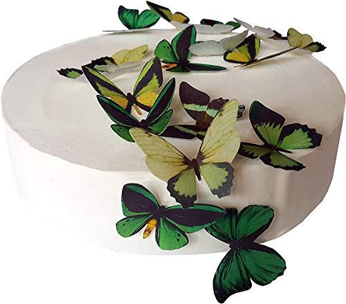 24 x Vorgeschnittene schöne grüne Schmetterlinge essbares Reispapier/Oblatenpapier Kuchendekoration, Dekoration für Cupcake Kuchen Dessert, für Geburtstag Party Hochzeit Babyparty Halloween Ostern (M)
