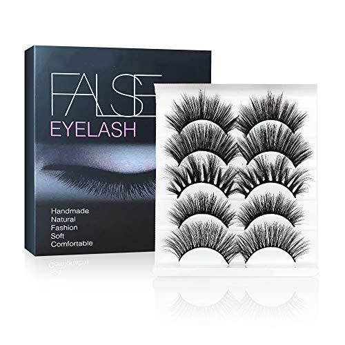 False Eyelashes, 5 Pairs Mixed 3D Mink Eyelashes Full Strips Natural Long Thick Cross Long Wispy Fluffy Dramatic Eyelashes for Make Up