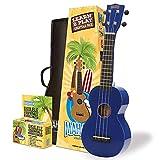 Mahalo Rainbow 'Learn 2 Play' Ukelele soprano con paquete esencial, color azul, incluye afinador de clip, cuerdas Aquila, púas y más
