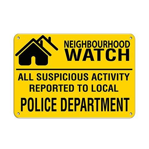 Nieuwigheid Metalen bord Post Buurt Horloge Verdachte Activiteit Gemeld aan Politie Aluminium Wall Art Plaque Decoratie