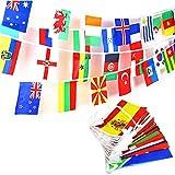 JZK 25 Meter 100 International Länderflaggen Fahnenkette Wimpelkette Flaggen Dekorationen für Bar, Sportvereine, Fußball-WM-Party, Party der Olympischen, Internationale Feierlichkeiten