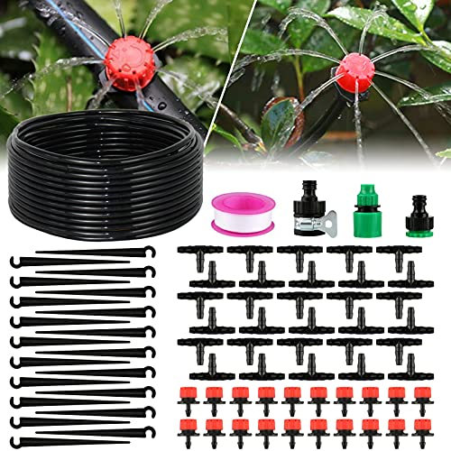 solawill 95 PCS Bewässerungssystem Garten, 25M Automatisches Bewässerung Kit mit Einstellbar Sprinkler Sprühgerät und Mikro Drip Bewässerungsset für Blumenbeete Gewächshaus Rasen Topfpflanze