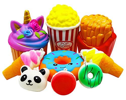 Viccent 9 Pcs Squishies Toys Pack, Jumbo Unicorn Cake Popcorn Donut...