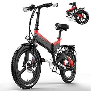 YMWD 20 Zoll Klapprad E-Bike 400W Fettreifen Elektrofahrrad Mountainbike Für Herren Und Damen Mit 48V 10.4-12.8Ah Lithium-Batterie Bis Zu 120 Km Reichweite Citybike