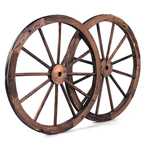 COSTWAY 2er Set Wagenrad Braun, Holzrad mit Eisenblech, Holz Wagen Dekorad, Dekoratives Wagon Rad, 76x76x3,5 cm