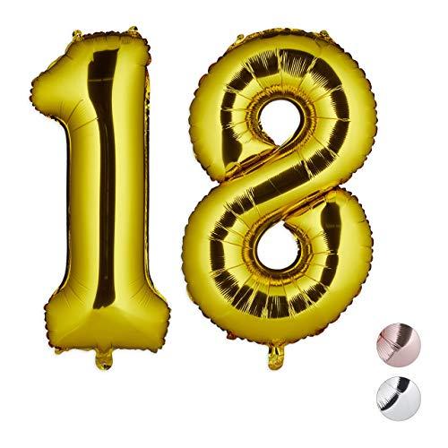 Relaxdays Globos de Cumpleaños Número 18, Aluminio, Dorado, 85-100 cm