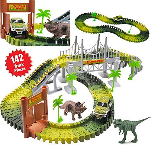 deAO Züge im Jurapark Spielset beinhaltet Zug, Eisenbahn, Dinosaurier und Zubehör (Modell 1)