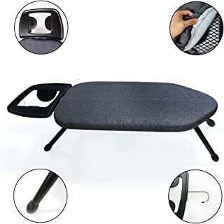 """Duwee 14""""x25"""" Table Top Ironing Board with Thicken Felt Padding, Metallic Cover, Solid Iron Rest (Black)"""