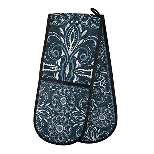 TropicalLife HaJie Double Oven Glove Mitts Vintage Ethnic Mandala Flower Heat Resistant Pot Holders for Home Kitchen Cooking Baking Outdoor BBQ