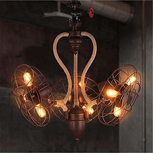 Lustre vintage pendant rétro ventilateur à trois têtes 9 lumière rouillé en fer forgé tissé à la main corde de chanvre suspension lampe d'éclairage de plafond E27 diamètre du luminaire 29,5 pouces