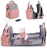 Wickelrucksack mit Wickelunterlage für Babys - Multifunktionale wasserdichte Wickeltasche mit Großer Kapazität Reisetasche mit Abnehmbarem Schnulleretui, Unisex (Color : Orange)