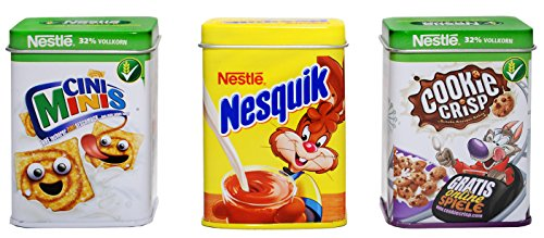 Tanner 00634 - Set Metalldosen, Cookie Crisp, Nesquik, Cini
