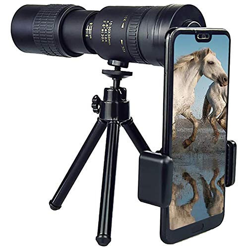 TOPofly Telescopio, 4K 10-300x40mm antiappannamento HD Monoculari di Visione Notturna Impermeabile monoculare di Portata con Smartphone Clip e treppiedi per Il Birdwatching Caccia Escursione del