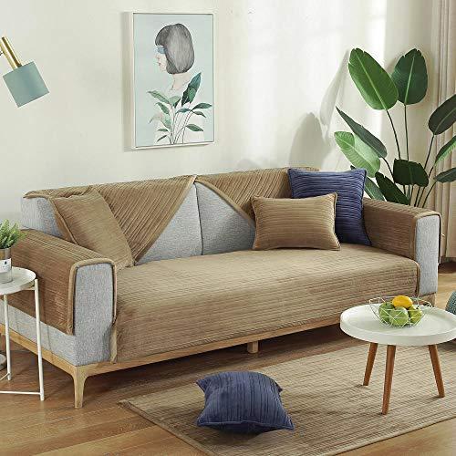 YUTJK Funda de Asiento de Tela,Funda de Terciopelo para sofá Sillón Antideslizante Toalla Sofá Manta Sofá de Oficina Cojín de sofá Dormitorio Sofá Cojín-marrón_90*210cm