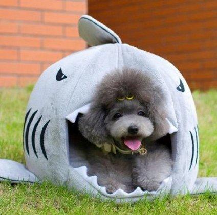 Dengzhu Lavabile Pet House Dog House Cat House Grey Shark Small to Medium, Grey, Medium