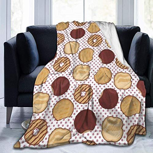 AEMAPE Throw Blanket Cookies Manta cálida de Franela Suave para Cama Sofá Silla Manta de Cama Ligera, para Todas Las Estaciones