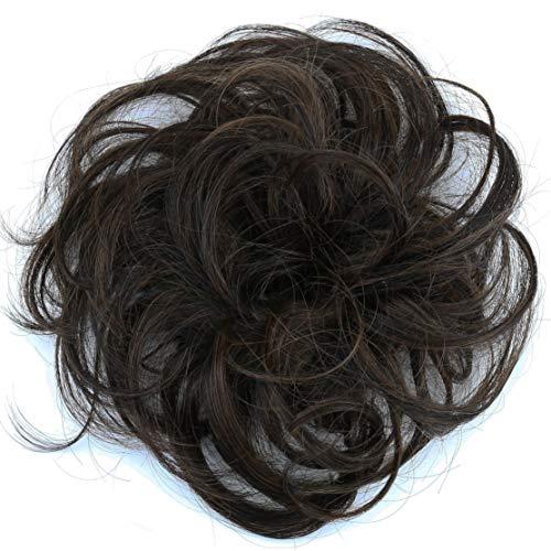 PRETTYSHOP 100% ECHTHAAR Haargummi Haarteil Haarverdichtung Zopf Haarband Haarschmuck Dunkelbraun Mix H312i