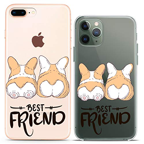 Cavka Matching Couple Cases Replacement for iPhone 12 Pro 5G Mini 11 Xs Max 6s 8 Plus 7 Xr 10 SE X 5 Dogs Best Friend Butt Silicone Cover Animal Clear Corgi Cute Art Mate Anniversary BFF Women Gift