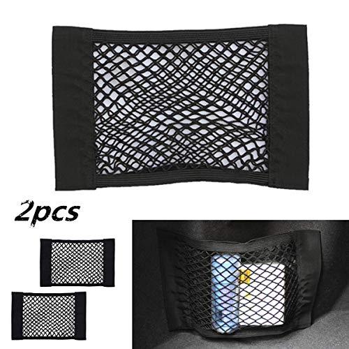 Trunk Storage Net, 2PCS Universal Car Seat Storage Mesh, Nylon Cargo Netting Wall Sticker Organizer Add on Storage Nets Pocket Pouch Bag for Car Trunk