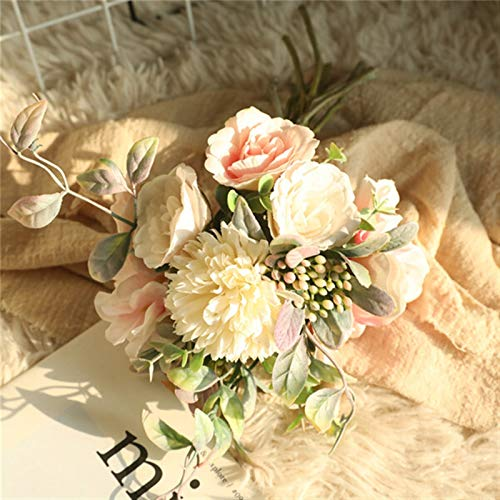 SJHQ Flor Preservada Peonía de Seda Hydrangea Hybrid Bouquet Flor Artificial Ramo de Novia Decoración de Boda DIY Party Flor Artificial (Color : Pink)