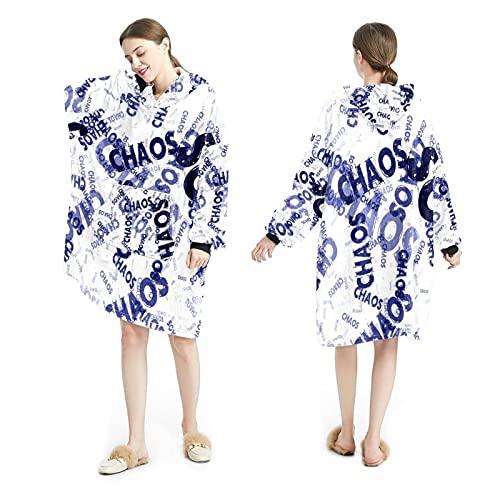 LENNEL Manta Sudadera con capucha Suave bata con capucha Mantas calientes Sudadera Talla única para todos los adultos Pullover Fondo en inglés