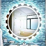MTFZD Badspiegel Smart LED 23.6inchintelligent Schalt Weiß-Licht-warmes Licht Runde Frameless...