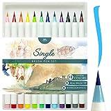 MozArt Supplies Set Multicolor de Rotuladores con Punta de Pincel - Brush Pen 12 Colores con Efectos Acuarela - Juego Ideal para Dibujos de Todo Tipo, Caligrafía y Lettering