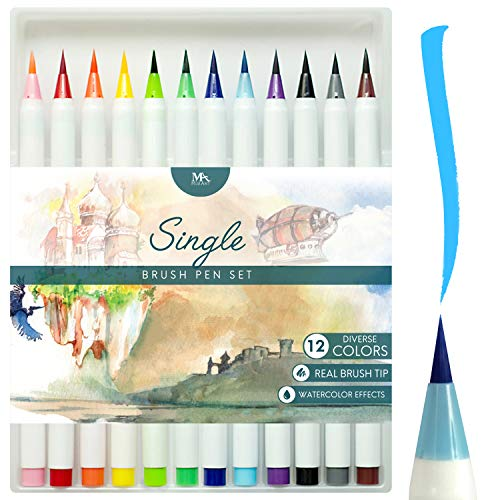 Brush Pens Set - 12 Colors - Watercolor Brush Pen - Soft Flexible Real Brush Tip Marker Pens, Durable, Premium Grade - Ideal for Adult Coloring Books, Manga, Comic, Calligraphy - MozArt Supplies