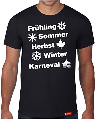 HARIZ #Karneval: Original Collection T-Shirt // 36 Designs wählbar // Schwarz, S-XXL // Fasching I Halloween I Altweiberfastnacht I Verkleidung #Karneval515: Jahreszeiten S
