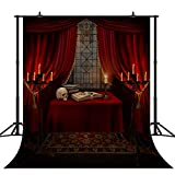 CapiSco Halloween Backdrop Nightmare Before Christmas Backgrounds for Child Adult Women Portrait Indoor Night Antique Study Red Curtain Terror Skull Old Candlestick Photo Studio Backdrop 6X8FT SCO87B