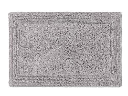 Schöner Wohnen Badematte – beidseitig verwendbar – waschbarer Badvorleger – Bordüre – 100% Baumwolle – hellgrau – 60 x 90 cm
