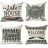 ITFRO 4pcs Outdoor Lake House My Happy Place Home Sweet Home Decorative Throw Pillowcase Cushion Cover Square Pillow Sham for Bedroom 18
