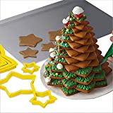 6PCS 3D Christmas Tree Cookie Cutter Set - Star Cookie Cutters XMAS Decoration Fondant Donut Cookie Cutters Kit for Christmas Tree Gift Cookie Tower (Yellow, 6PC)