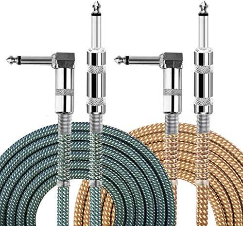 Cable de guitarra EBXYA de 6,35 mm y 1/4' TS Jack trenzado para guitarra eléctrica y bajo, 2 unidades