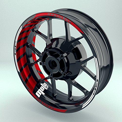 OneWheel Felgenrandaufkleber Motorrad Komplett-Set (17 Zoll) - Felgenaufkleber MotoGP Rot (Rot - glänzend)