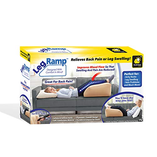 BulbHead Ramp Must-Have Elevating Rest Relieves Leg, Hip and Knee Pain, Improves Circulation, Reduces Swelling-Inflatable Bed Wedge Pillow, Beige