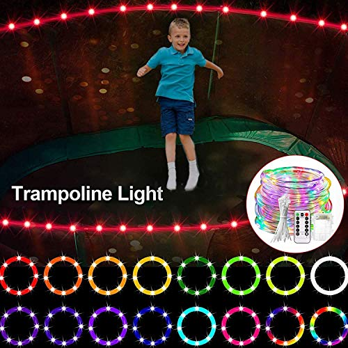Luces de trampolín LED Luces de cuerda Luces de hadas al aire libre para 8 pies, 10 pies, 12 pies, 14 pies, 15FT, 16FT Trampoline al aire libre Noche Jugar Trampoline Light Patio Boda Decoración,14Ft