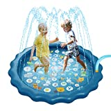 SOONHUA Home Thickening Environmental Protection PVC Kids Toddler Sprinkler Water Play Mat Outdoor Children...