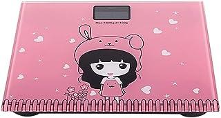 UYZ Báscula de Peso del Cuerpo Humano Báscula electrónica Báscula de baño Digital para el hogar Batería de Dibujos Animados de Animales Lindos Pantalla LCD Duradera (Color: Rosa)