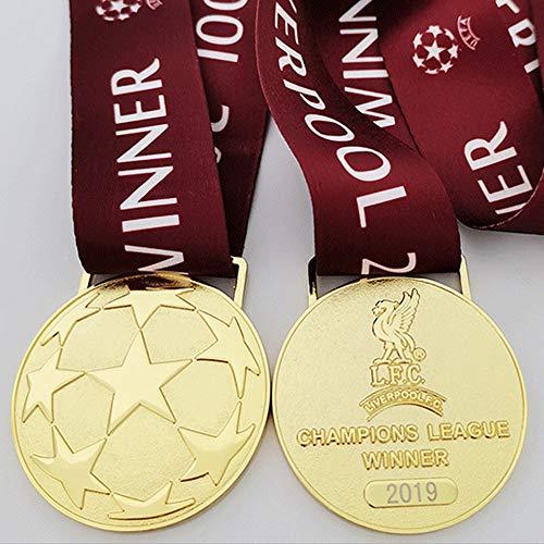 2019 LIVERPOOL Medaille UEFA für Champions League Fußball Champion Goldmedaille Fan Fanartikel Metall Nachbildung Anti-Korrosion und kein Verblassen mit Box 1 Stück