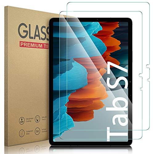Lanhiem Vetro Samsung Tab S7 (11 Pollici),Vetro Temperato Samsung Tab S7 (SM-T870/875) [2 Pezzi] Senza Bolle,Durezza 9H,Ultra Resistente,Pellicola Temperata Compatibile con la Cover Samsung Tab S7