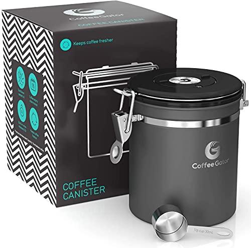 Coffee Gator-Edelstahl-Kaffeedose – Hält gemahlener Kaffee und Bohnen länger frisch – Behälter mit Datumsverfolgung, CO2-Freigabeventil und Messlöffel - Mittel - Grau