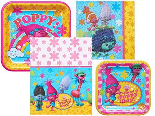Dreamworks Trolls Birthday Party Bundle including Dinner Plates, Dessert Plates, Napkins and Tablecover for 16